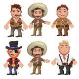 Pięć mężczyzna charakterów w kreskówka dzikim zachodzie projektują royalty ilustracja