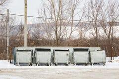 Pięć metalu śmieci srebny zbiornik Zdjęcia Royalty Free
