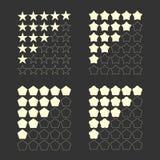 Pięć oceny gwiazdowy set ilustracji