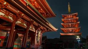 Pięć piętrowa pagoda Senso-ji świątynia w Asakusa, Tokio, Japonia obrazy royalty free