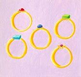 pięć pierścionków Fotografia Royalty Free