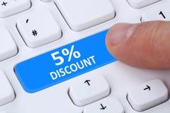 5% pięć procentów rabata guzika alegata talonowej sprzedaży online shopp Obrazy Royalty Free