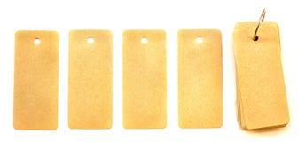 Pięć przetwarzających papierów etykietek z notatnikiem odizolowywającym na białym tle Obrazy Stock