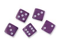 Pięć Purpurowych kostka do gry Obrazy Royalty Free