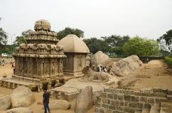 Pięć Rathas przy Mahabalipuram, tamil nadu, India, Azja Zdjęcia Royalty Free