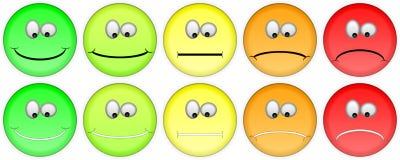 Pięć ratingowych emojis Zdjęcie Stock