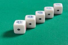 Pięć rodzaj na grzebaków kostka do gry Zdjęcia Stock
