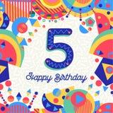 Pięć 5 rok przyjęcia urodzinowego kartka z pozdrowieniami liczb Zdjęcia Stock