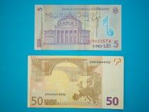 5 pięć Rumuńskich lei i 50 pięćdziesiąt euro banknotów obrazy royalty free