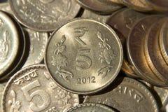 Pięć rupii monety India Obrazy Royalty Free