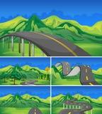 Pięć scena puste drogi góry ilustracji