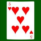 Pięć serc Karciana kostium ikona, karta do gry symbole Obrazy Stock