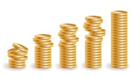 Pięć stert złociste monety, wzrastający dochód Obrazy Royalty Free