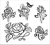 Pięć stylizujący wzrastali wzory w wektorze Fotografia Stock