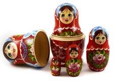 Pięć tradycyjnych Rosyjskich matryoshka lal Fotografia Stock