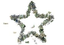 Pięć wskazująca gwiazda w USA rachunkach Zdjęcia Stock