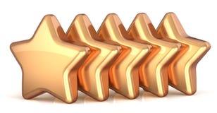 Pięć złocistych gwiazd złota 5 gwiazdy usługowa nagroda ilustracja wektor
