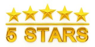 pięć złotych gwiazd Zdjęcia Stock