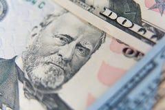 Pięćdziesiąt dolarowych banknotów Dolary zbliżenia pojęcia fotografia royalty free