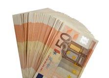 Pięćdziesiąt euro banknotów odizolowywająca paczka 50 euro obrazy royalty free
