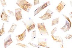 Pięćdziesiąt notatek euro latać Fotografia Stock