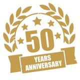 Pięćdziesiąt rok rocznicowego złotego grunge znaczka ilustracja wektor