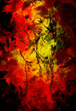 Pięść rysunek, ołówkowy nakreślenie na papierze, koloru skutku i ogienia tle, Zdjęcia Stock
