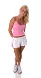 piękną blondynkę fitness ubrania fizycznej kobieta Fotografia Stock