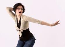 piękną brunetki tańczące young zdjęcia stock