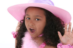 piękną dziewczynę kapeluszowe stare różowy 6 lat Zdjęcia Stock