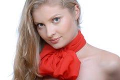 piękna łęku portreta czerwieni kobieta Fotografia Royalty Free