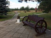 Piękna ławka w lato parku Obraz Stock