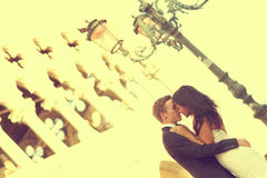 Piękna ślub para w Wenecja Fotografia Royalty Free