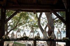 Piękna ślubu zapasu fotografia od Grecja! Piękny lampion, Ślubny wystrój zdjęcie stock