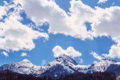 Piękna śnieżna Aibga halnego szczytu chmurnego nieba zimy błękitna sceneria Zdjęcie Royalty Free