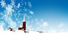 Piękna Śnieżna górska wioska z Abstrakcjonistyczny Filigree Spadać ilustracji