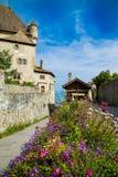Piękna średniowieczna wioska Yvoire obok Lemańskiego jeziora, Francja obraz stock