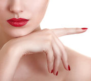 piękna żeńska warg fotografii czerwień zdjęcie stock