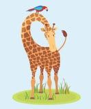 Piękna żyrafa na trawie Ilustracji