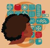 Piękna amerykanin afrykańskiego pochodzenia kobieta na etnicznym ornamencie ilustracja wektor