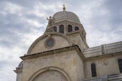 Piękna architektura uroczy stary kościół i katedry St James w miasteczku sibenik Chorwacja Fotografia Royalty Free