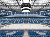 Piękna arena sportowa dla lodowego hokeja z błękitem sadza VIP pudełka 3d odpłacają się Fotografia Stock