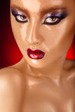 Piękna azjatykcia kobieta z mokrą twarzą Obraz Stock