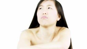Piękna azjatykcia kobieta zanudzająca i gniewna zbiory wideo