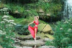 Piękna balerina wykonuje outdoors w naturze zdjęcie stock