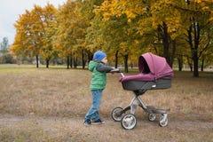 Piękna berbeć chłopiec bawić się z spacerowiczem Zdjęcia Stock