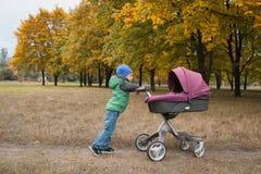 Piękna berbeć chłopiec bawić się z spacerowiczem Zdjęcie Stock