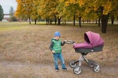 Piękna berbeć chłopiec bawić się z spacerowiczem Obraz Stock