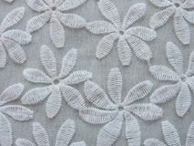Piękna biała tkanina z kwiatami Zdjęcie Stock