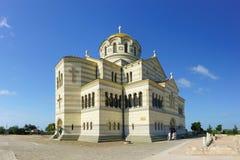 Piękna bielu kamienia ortodoksa St Vladimir ` s katedra w Chersonesus Tavrichesky zbliżeniu Wielki kościół na Krymskim piórze Obraz Stock